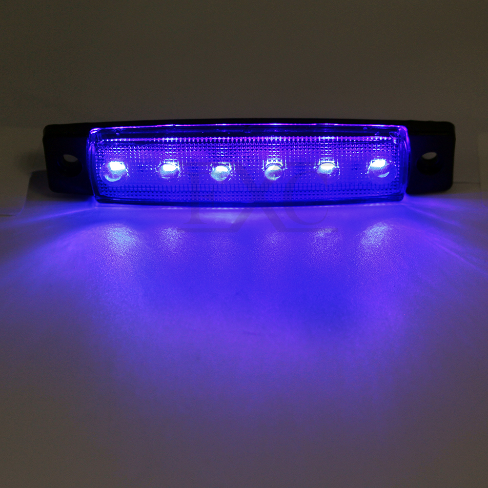10pcs Blue 6led Side Marker Light For Truck Trailer
