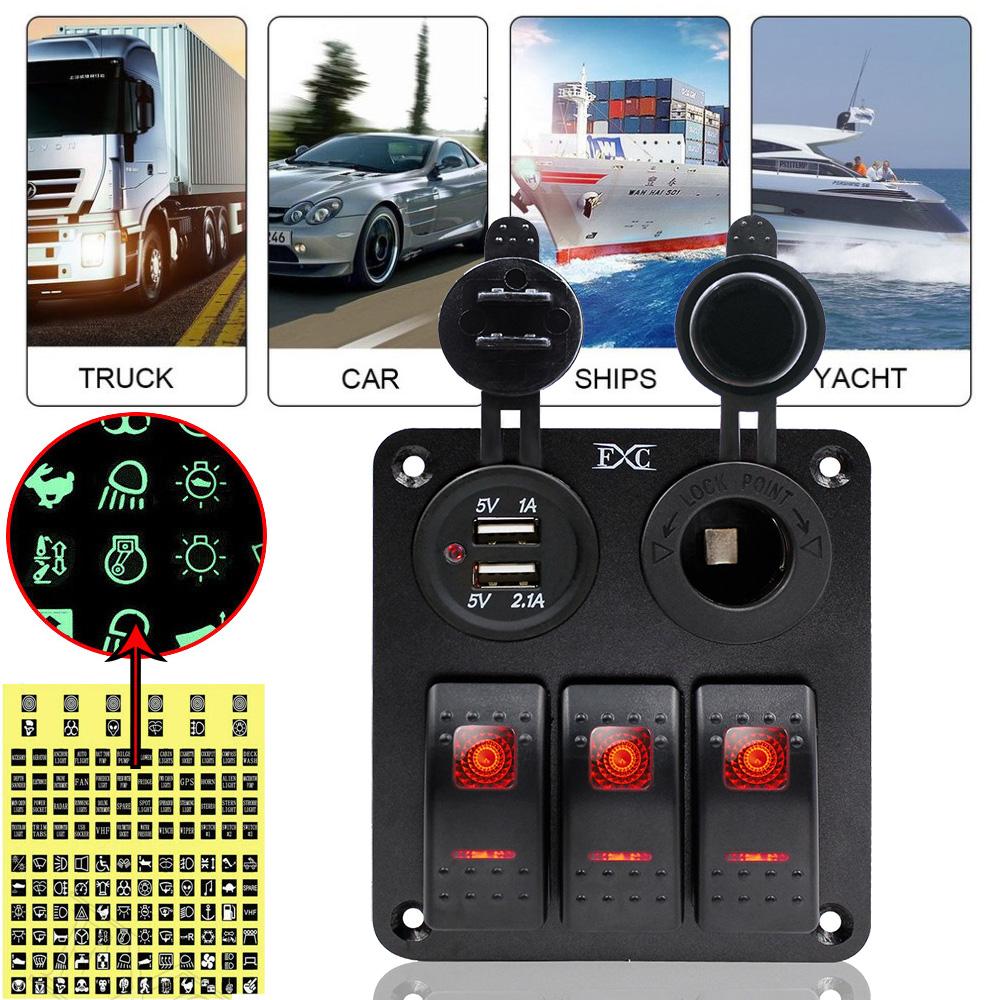 3  GANG Rocker Switch Panel LED Voltmeter RV Dual USB Charger For Car Marine