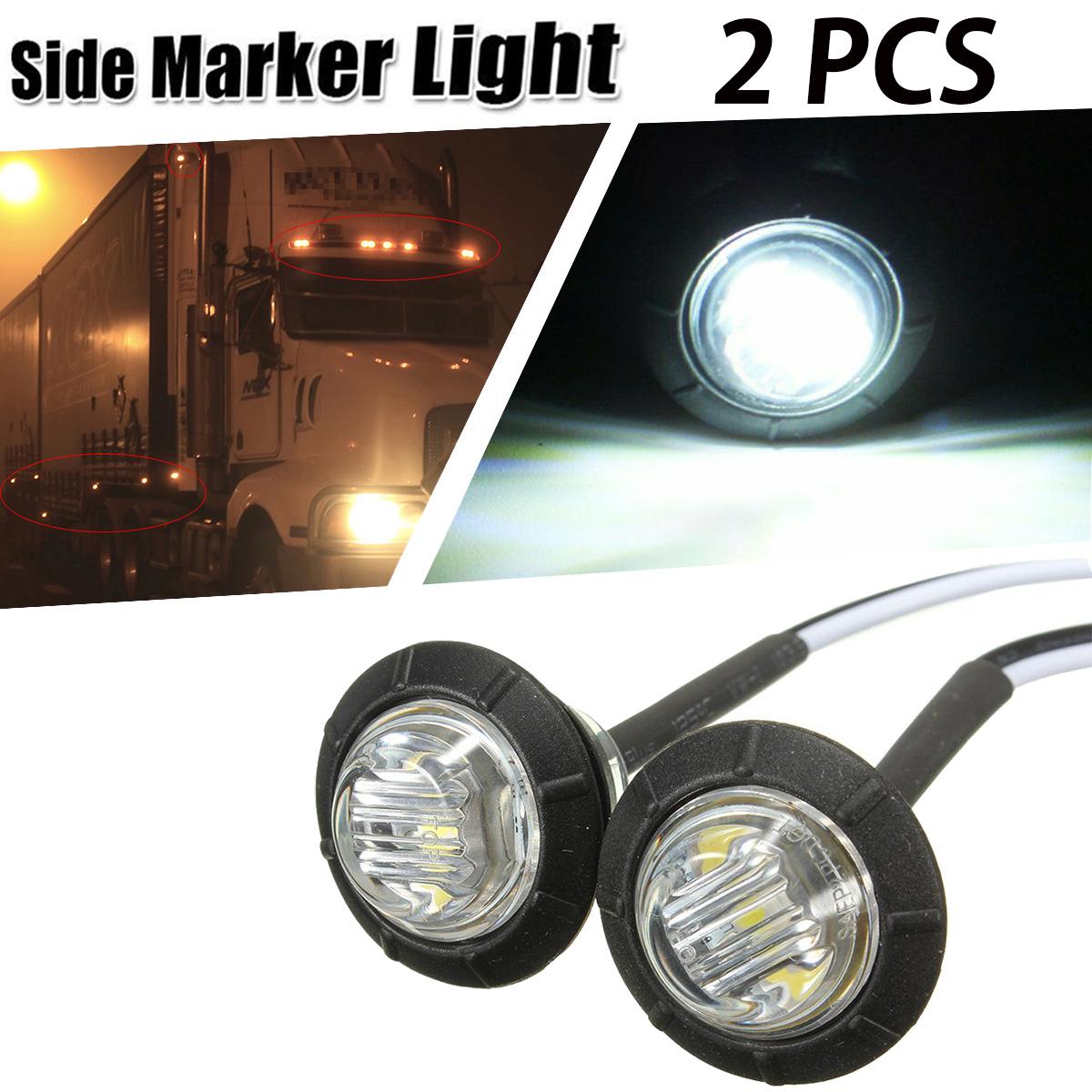 partsam 2pcs 3//4 Miniature Side Marker Clearance LED Light Round White Waterproof