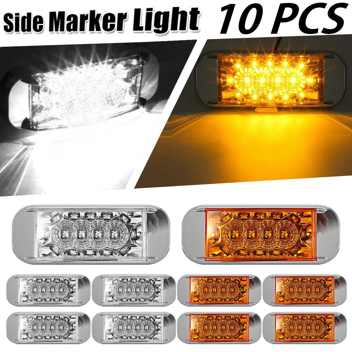 10XAmber Led Light Oval Marker Clearance Light Chrome Flush Mount Clear Lens