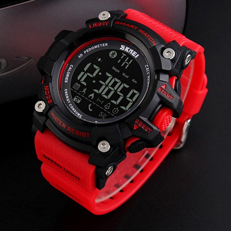 SkMEI Men Waterproof Bluetooth LED Digital Sport Pedometer Smart Wrist Watch Red