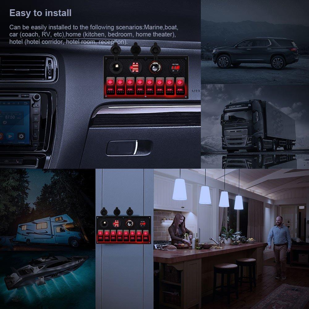 au post 8 gang inline fuse box waterproof red led rocker. Black Bedroom Furniture Sets. Home Design Ideas