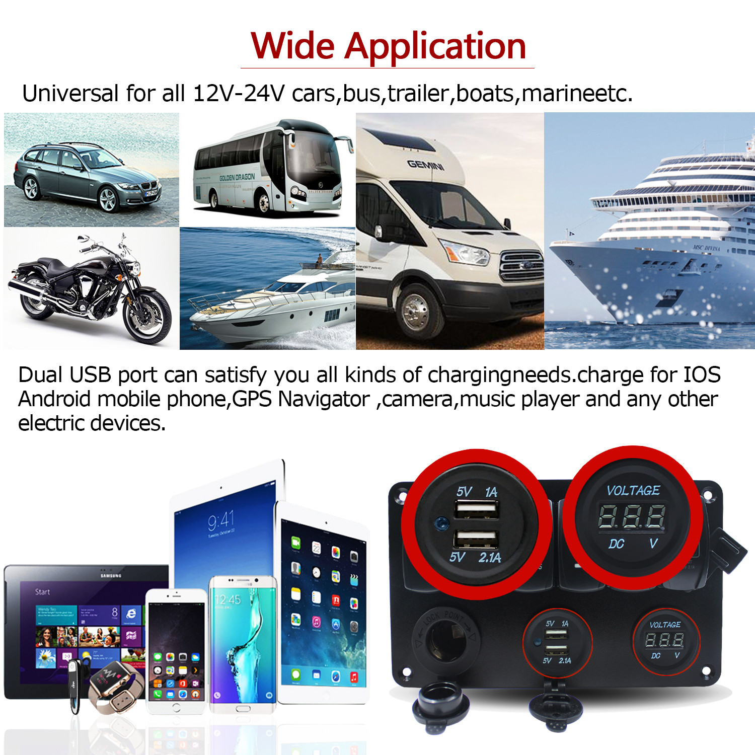 12v 24v 6 Gang Led Rocker Switch Panel Dual Usb Car Charger Boat Wiring Easily Installed By Its Pre Wired Harness All In One Design That Controls Six Lightsthe Zombie Light Can Be Used To Control Any Vehicle Electrical