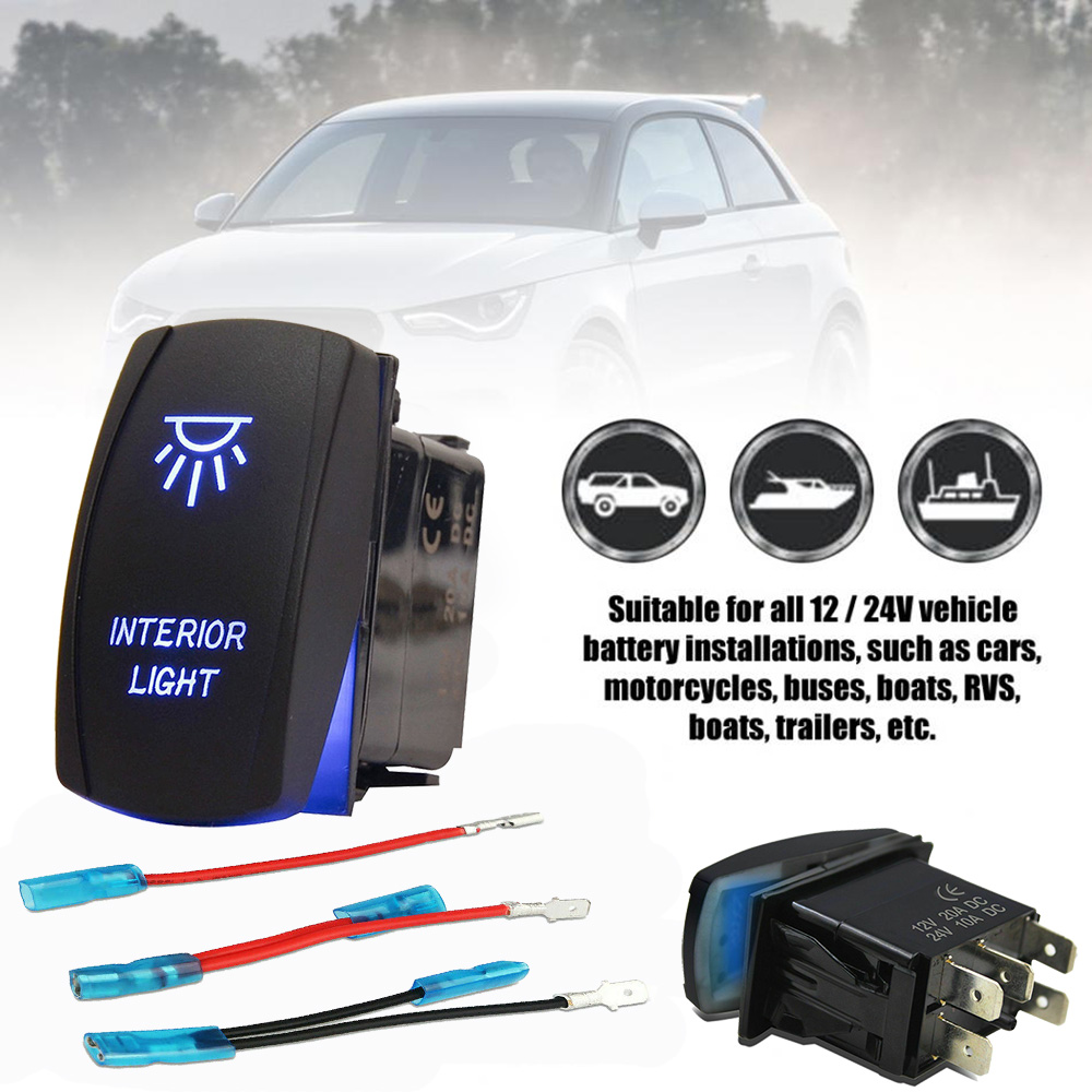 RZR Car Trucks Auto Boat Driving Lights On//Off White SPST Rocker Toggle Switch