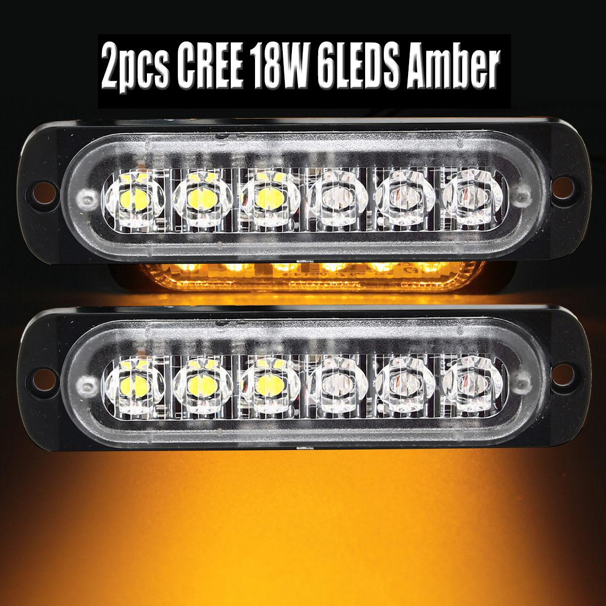 Details about 2pcs 6 LED Car Truck Amber Flash Light Bar Warning Emergency Strobe Lamp 12/24V