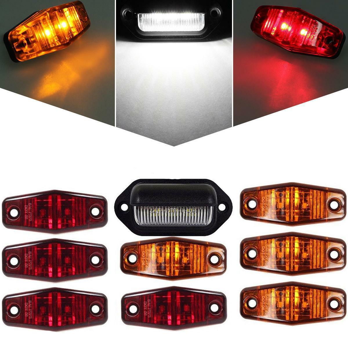 Pair Led License Plate Light for Trailer Truck White 3Diodes Surface Mount 12V