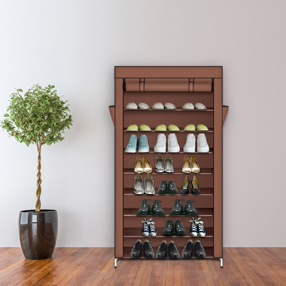 10 Tier Tall Shoe Rack Cabinet with Cover Wall Bench Shelf Shoe Tower Home