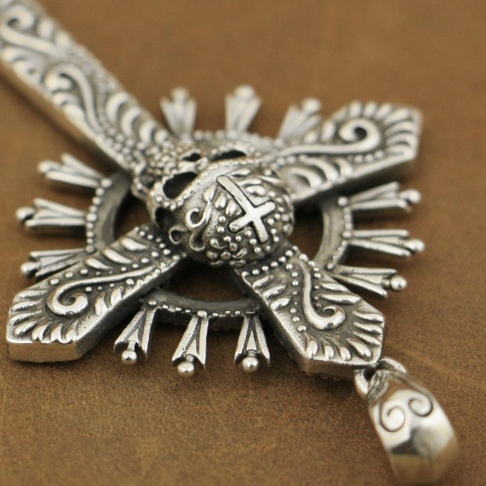 925 Sterling Silver Handmade Hidden Skull Cross Mens Charms Pendant TA95D JP