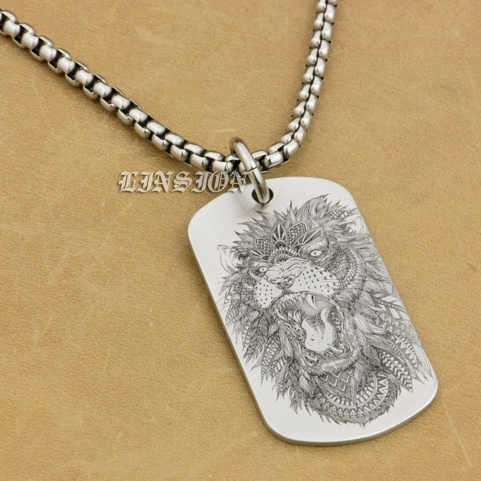 Stainess steel dog tag laser engraved lion men punk charm pendant image is loading stainess steel dog tag laser engraved lion men aloadofball Gallery