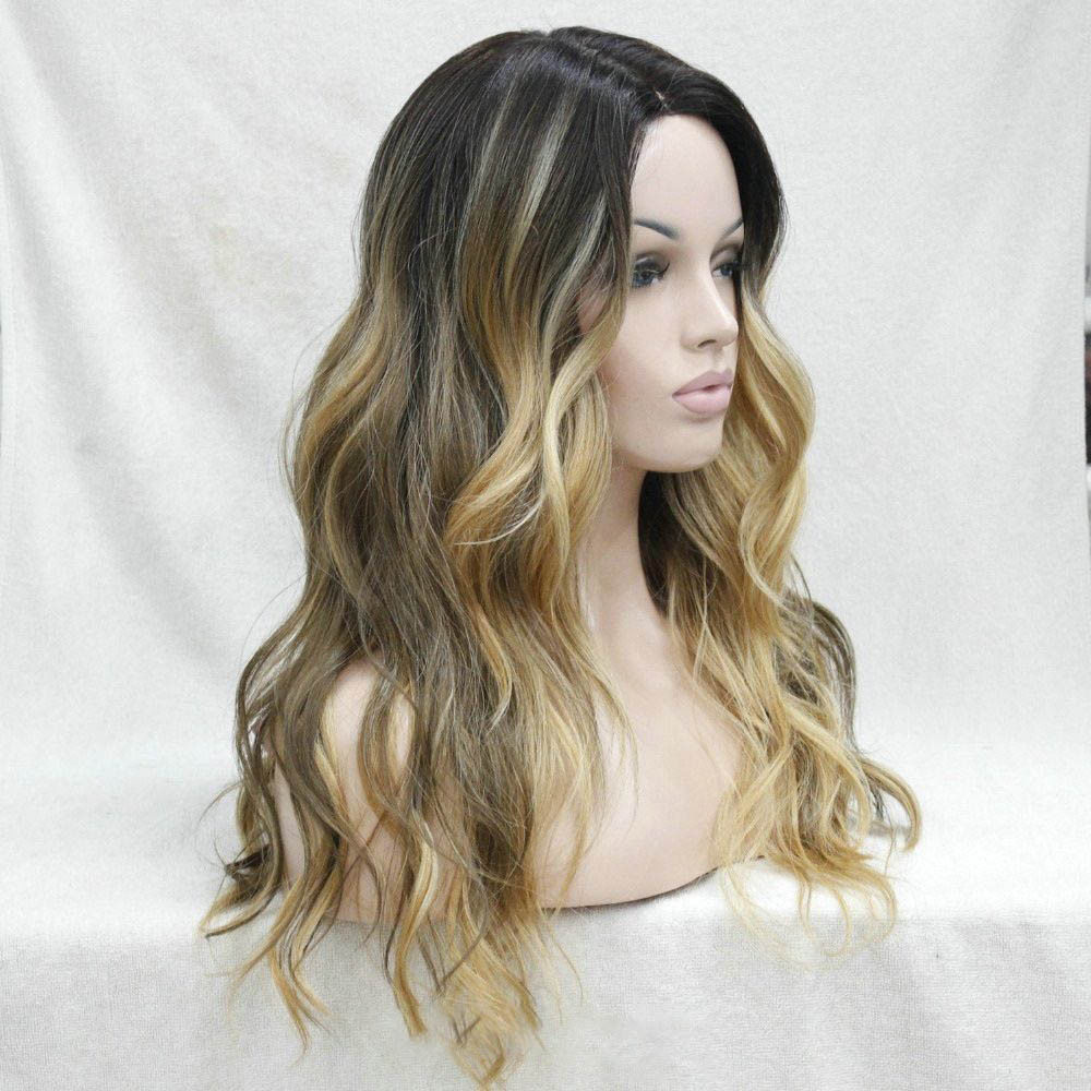 Long-Wavy-Parted-middle-Ombre-Lace-Front-Heat-Resistant-Women-Natural-wig-cap
