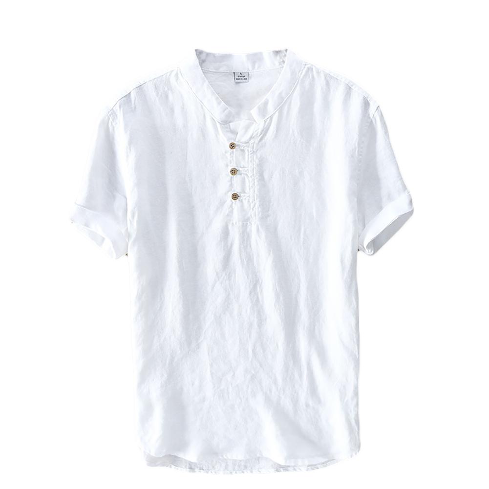 herren kurzarm leinen hemd henley kurzarm hemd t shirt. Black Bedroom Furniture Sets. Home Design Ideas