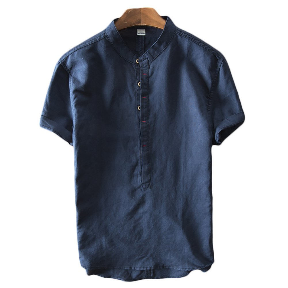 herren leinen henley kurzarm hemd sommer hemden t shirt. Black Bedroom Furniture Sets. Home Design Ideas