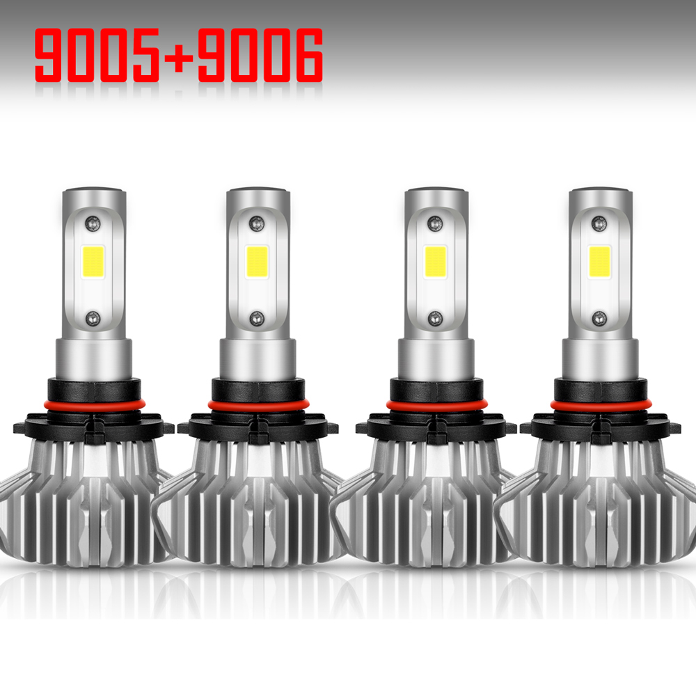 Details about 4PCS 9005 9006 LED Headlight Kit Combo Total 3000W 450000LM  High Low Beam 6000K