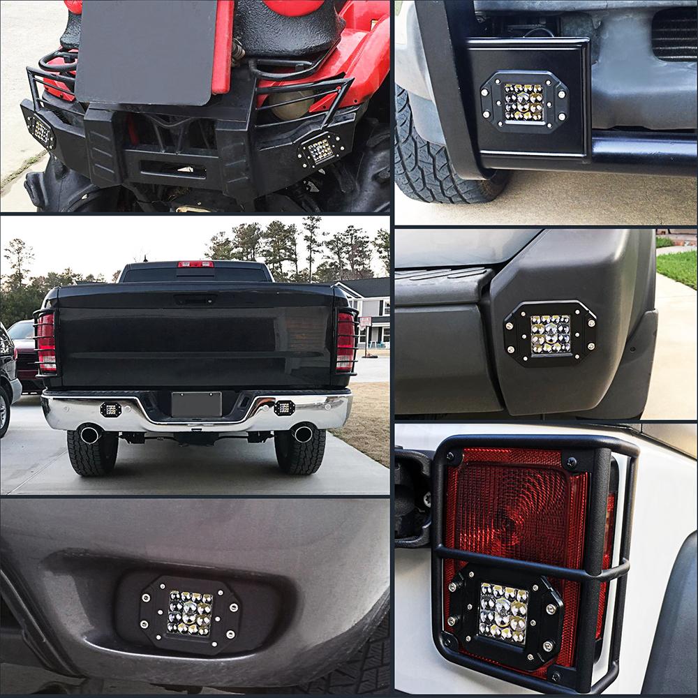 Pair Flush Mount Backup Reverse Front Rear Bumper Led