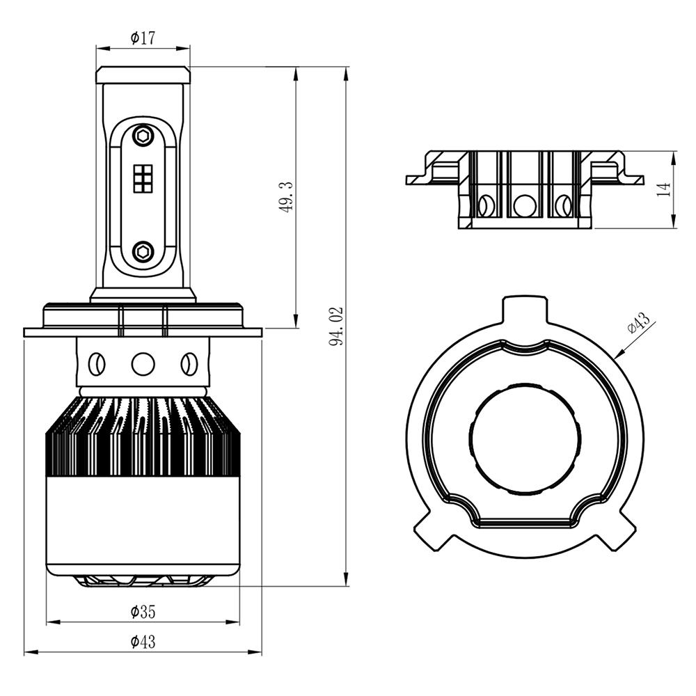2x H4 9003 1050w Led Headlight Bulbs Hi Lo Dual 157500lm Xenon 6000k Bulb Wiring Diagram Replacement