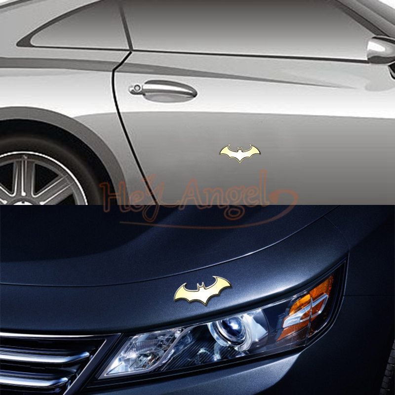 8x4cm car styling 3d gold sticker metal bat badge emblem decal auto detailing
