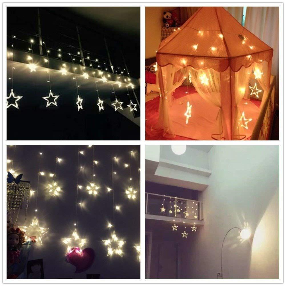 12 sterne led lichterkette lichtervorhang fenster balkon warmwei weihnachten ebay. Black Bedroom Furniture Sets. Home Design Ideas