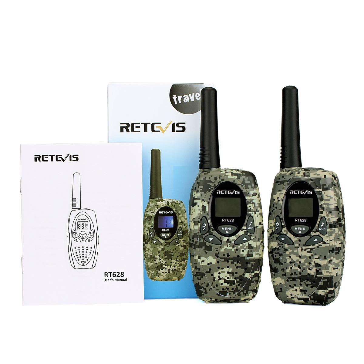 2pcs Retevis RT-628 Walkie Talkie 0,5 W UHF 8Kanal LCD PMR Funkgeräte für Kinder