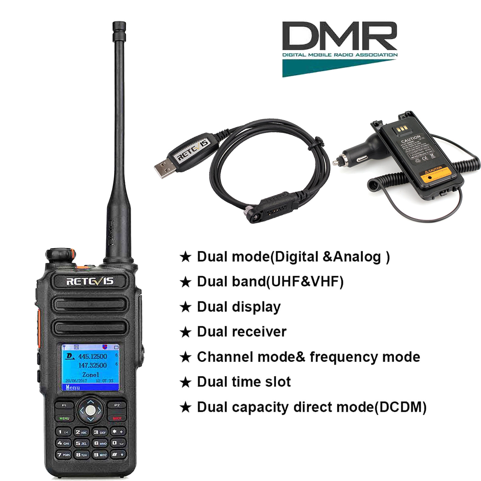 retevis rt82 dmr walkie talkie dual band radios usb cable