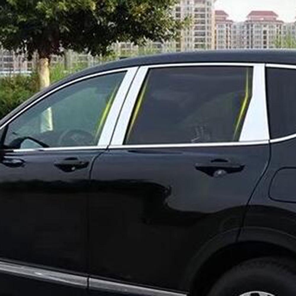 Stainless Steel Window Pillar Posts trim 6pcs For Honda CRV CR-V 2017 2018