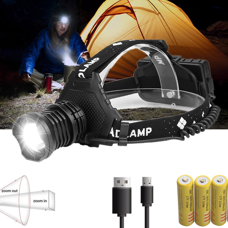 200000LM XHP70 Led Headlamp USB Rechargeable Powerful Headlight Zoomable Torch