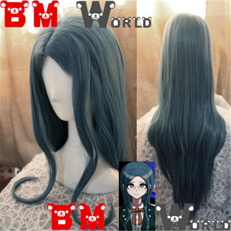 DanganRonpa V3 Shirogane Tsumugi Anime COS Wig Mixed Blue Long Curly Wave Hair