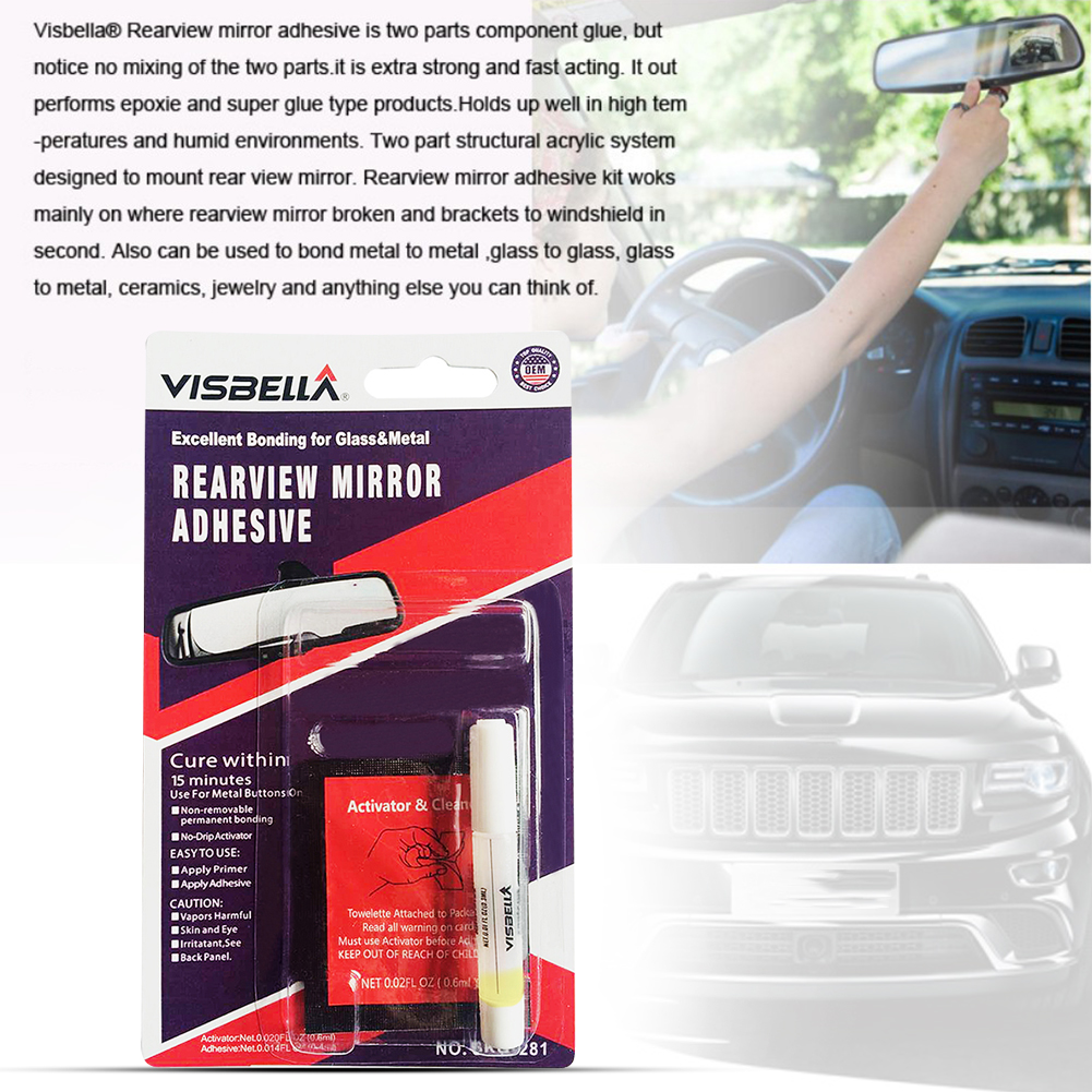 Car Permanent Rear View Mirror Adhesive Glue Professional