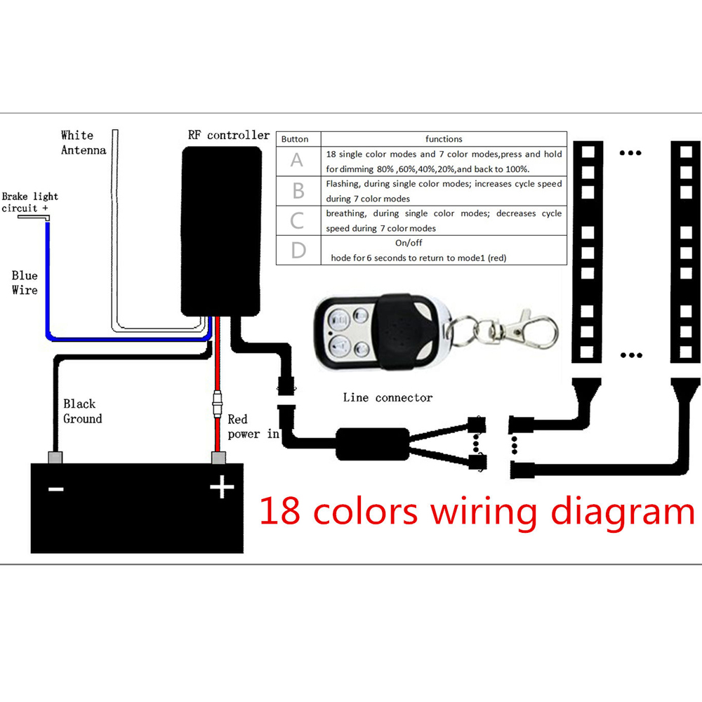 12pcs Motorcycle Multi Color Universal Rgb 18 Colors Led Light Wire Diagram Strips Kit In Usa