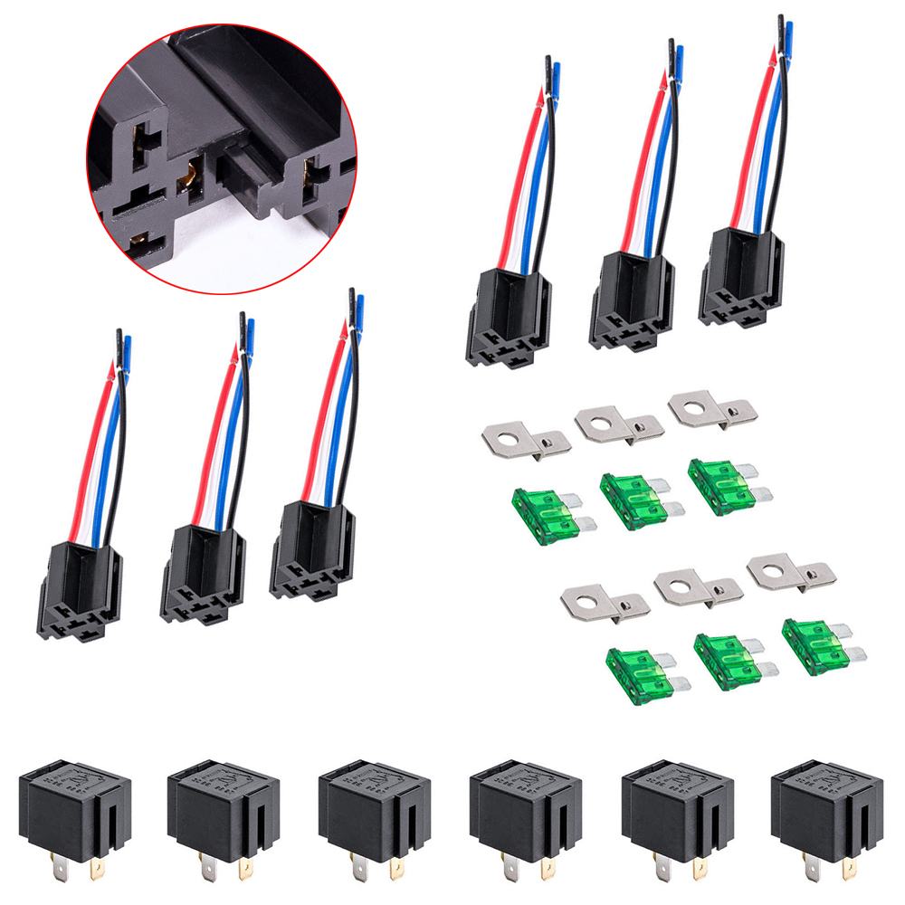 12v Dc 40 30 Amp 4 Pin Automotive Relay Harness Set Switch Fuse 6 With Pack