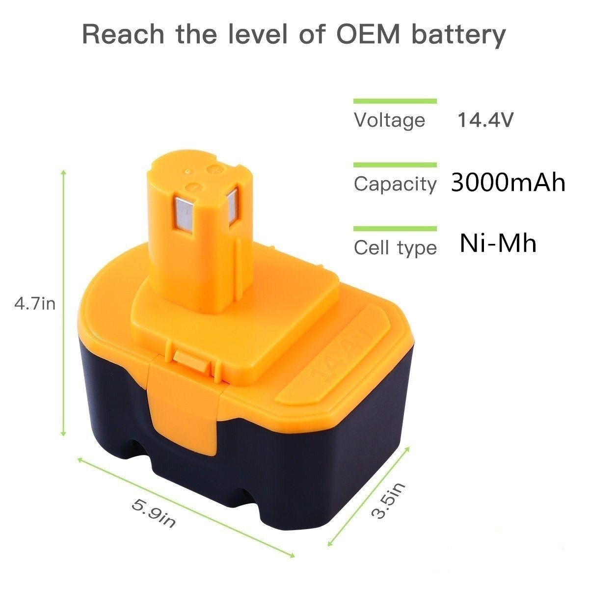 3000mAh 14.4V For Ryobi Battery 130224010 1400671 130224011 HP1442M tools 2PCS