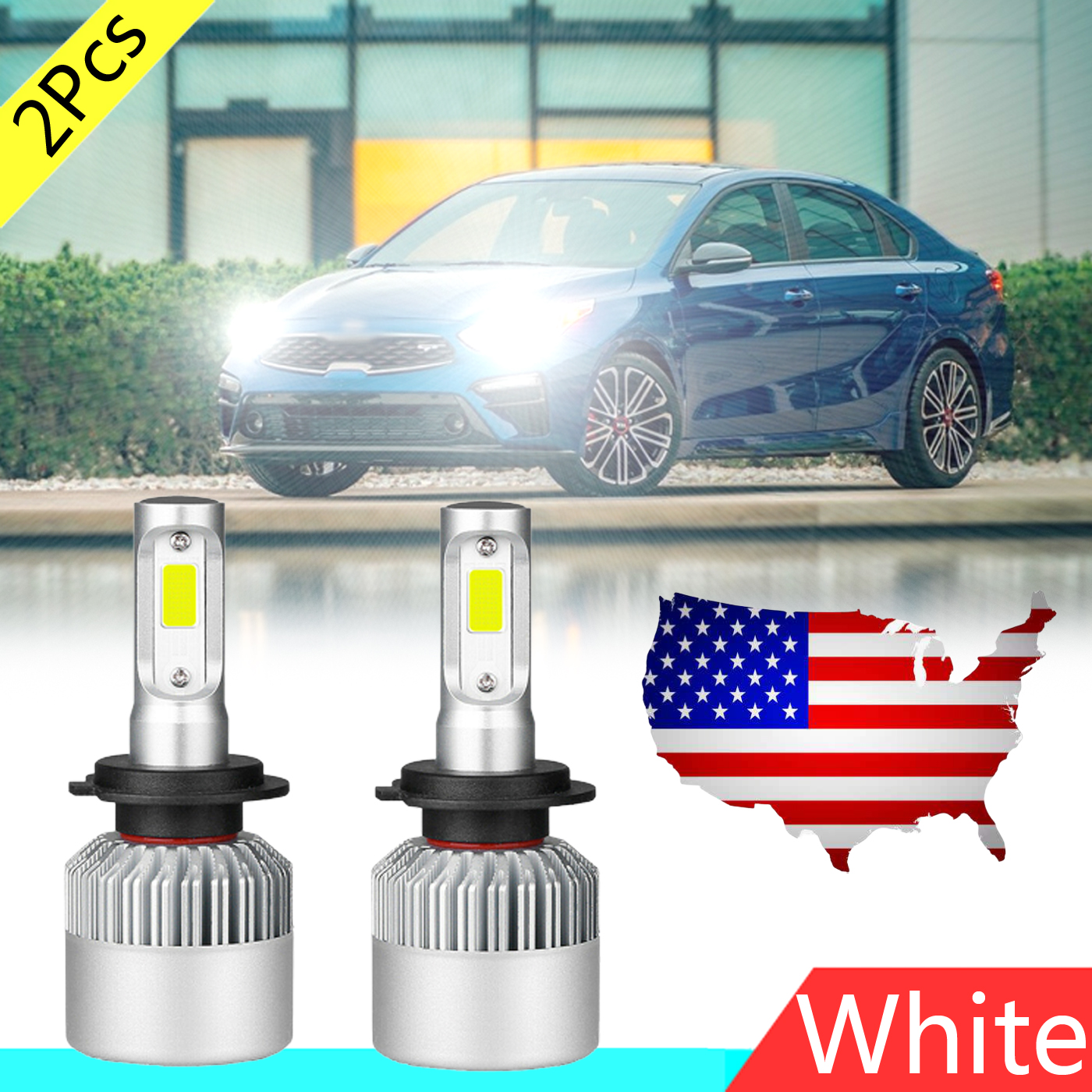 2pcs H7 White 48w 12000lm Led Headlight Low Beam Bulbs For Kia