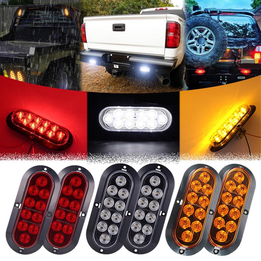 """2Pcs 6/"""" Oval Amber 10 LED Reverse Backup Brake Stop Light Trailer Truck RV Boat"""
