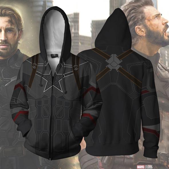 Cosplay Avengers 3 Infinity War Captain America hoodie Sweatshirt  Costume coat