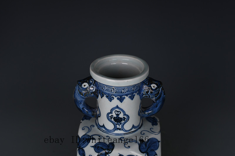 China old porcelain Ming xuande Blue /& white flower double ear Square vase