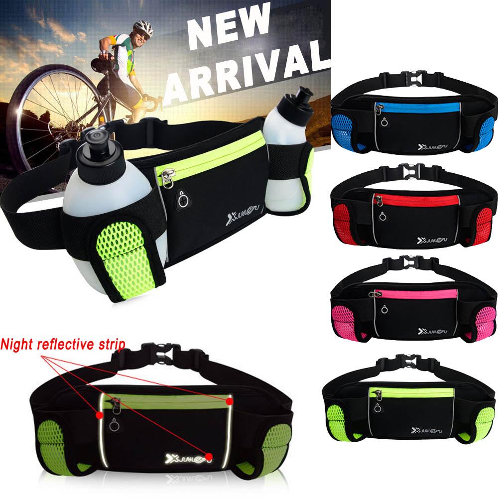 Sports Running Jogging Cycling Belt Waist Bag Hydration Packs + 2 Water Bottle Set