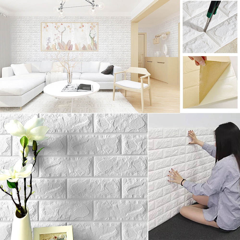 Details About 3d Pe Foam Diy Wall Stickers Paper Embossed Brick Stone Office Home Room Decor