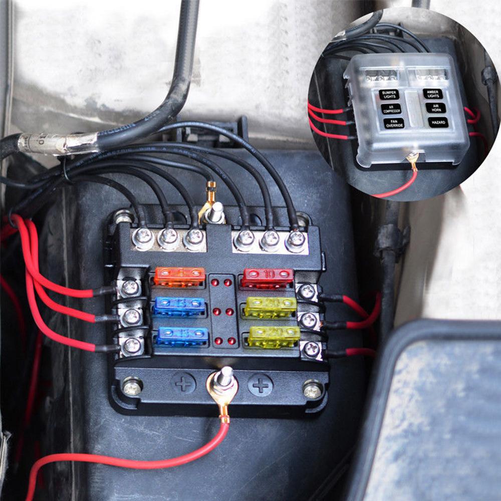 details about 6 way blade fuse box & distribution bar bus boat car kit marine holder 12v 32v 12v marine fuse block 12v marine fuse box #1