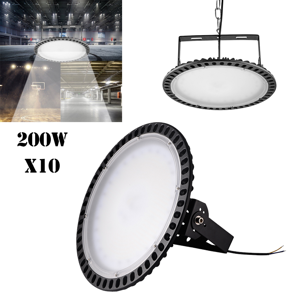 4X 200W UFO LED High Bay Light Slim Warehouse Industrial Shed Commercial Lamp US