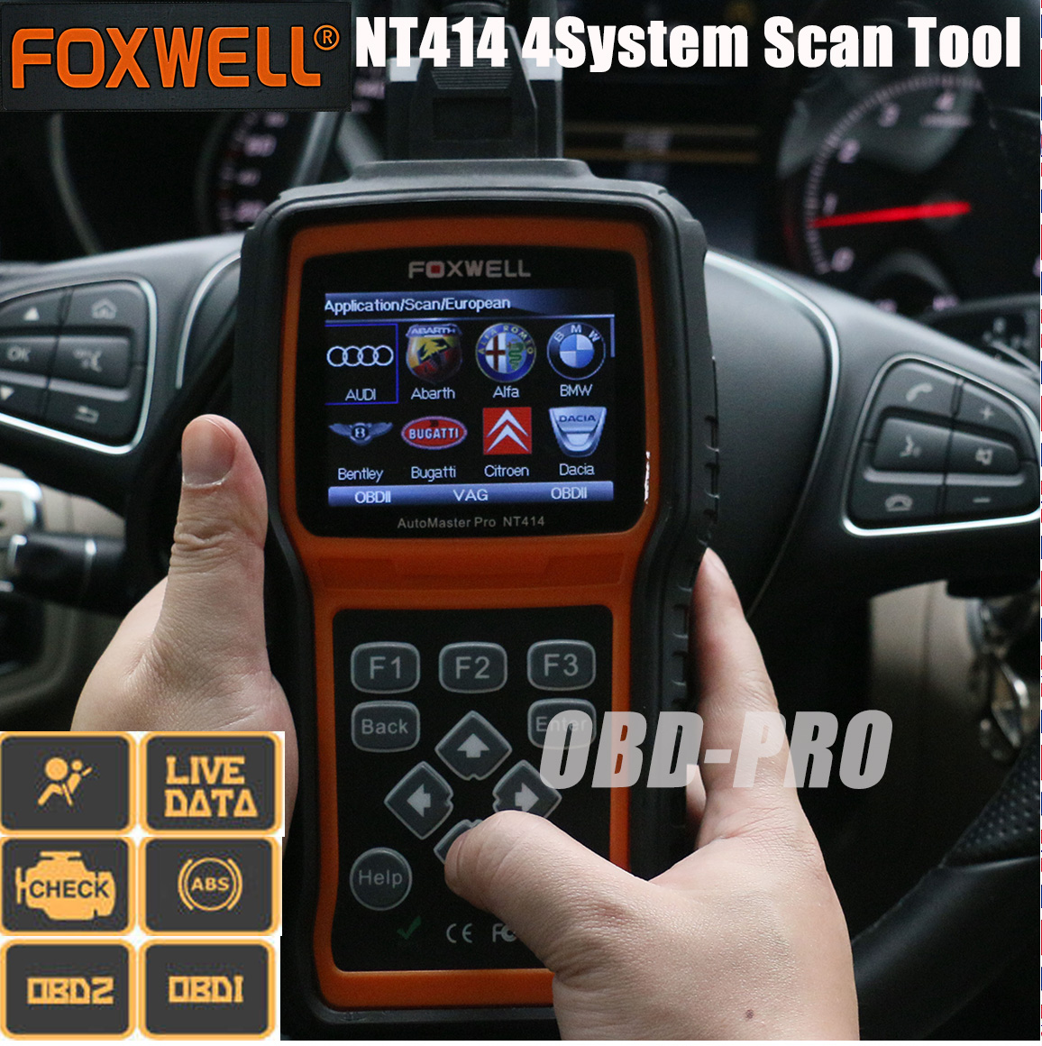 Details about Foxwell Pro NT414 4 System Engine ABS Airbag Fault Diagnostic  Scan Tool Makes