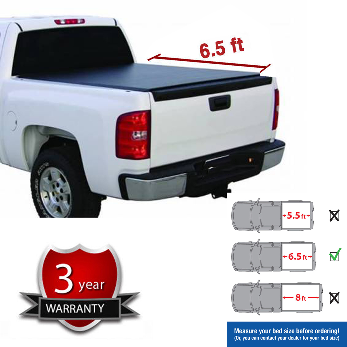 Soft Roll-Up Tonneau Cover Fit 88-00 Chevy//GMC C10 C//K Pickup 6.5/' Fleetside Bed