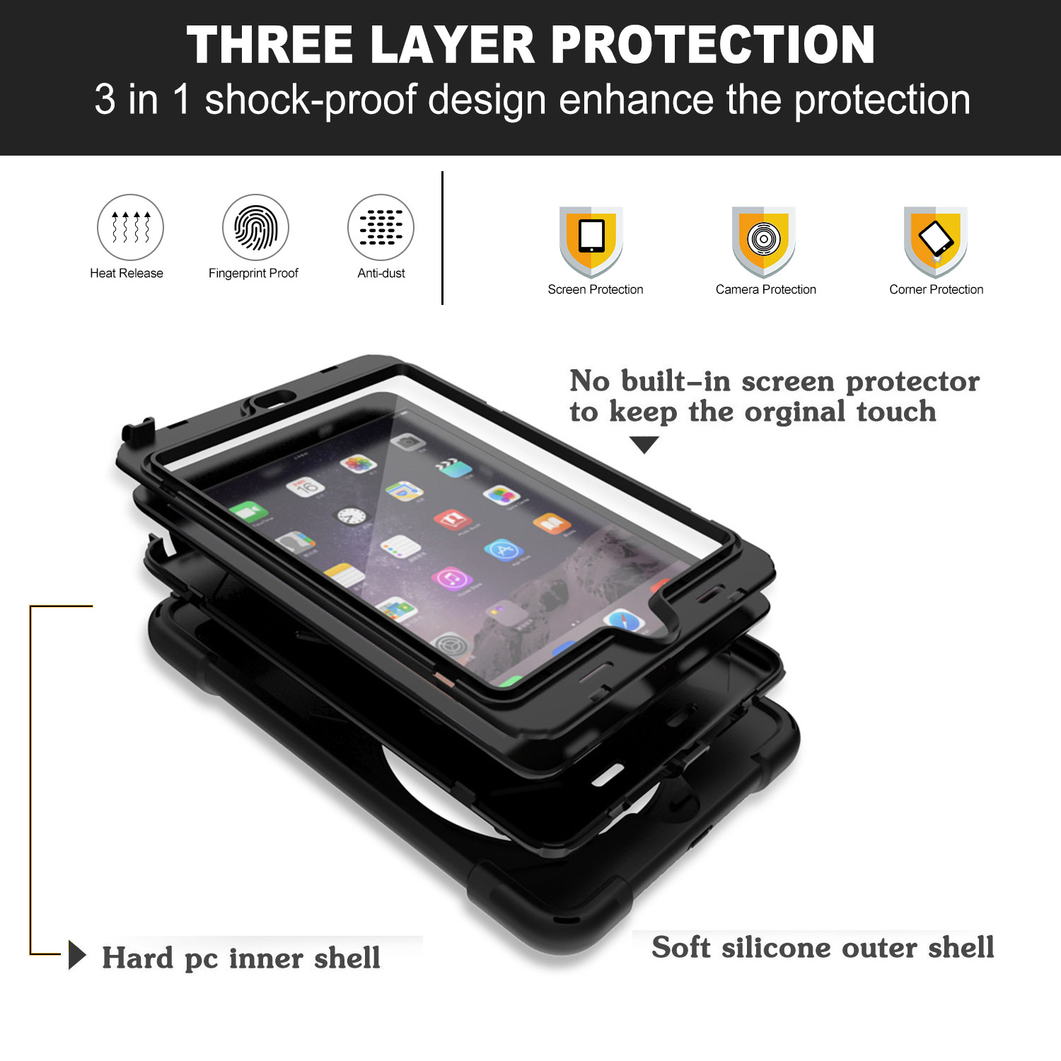 Full Body Protective Cover Case With Hand Strap Kickstand for iPad Mini 1/2/3