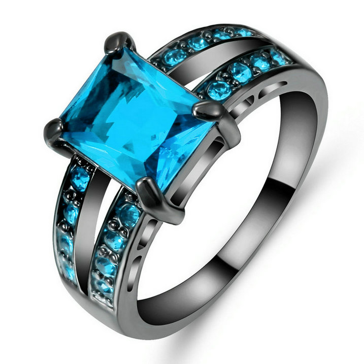 Blue Sapphire Crystal Wedding Ring Women/'s 10Kt Black Gold Filled Size 9