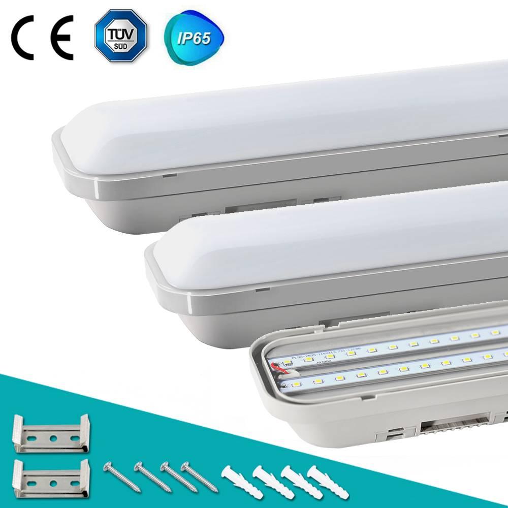 LED Feuchtraumleuchte 120CM, LED Deckenleuchte 32W 2800LM, IP65 Wasserdicht Deckenlampe LED Leuchte Röhre, 4000K Innen Außenbeleuchtung Für