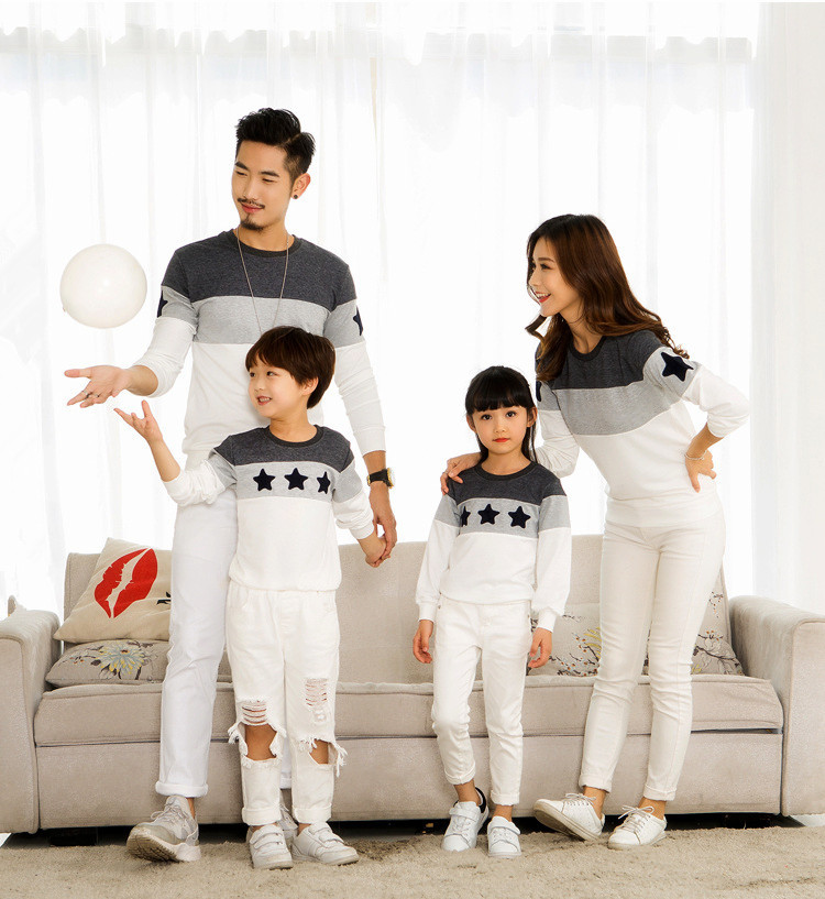 Family Matching Clothes Couple T-Shirt Long Sleeve Mom Dad ...