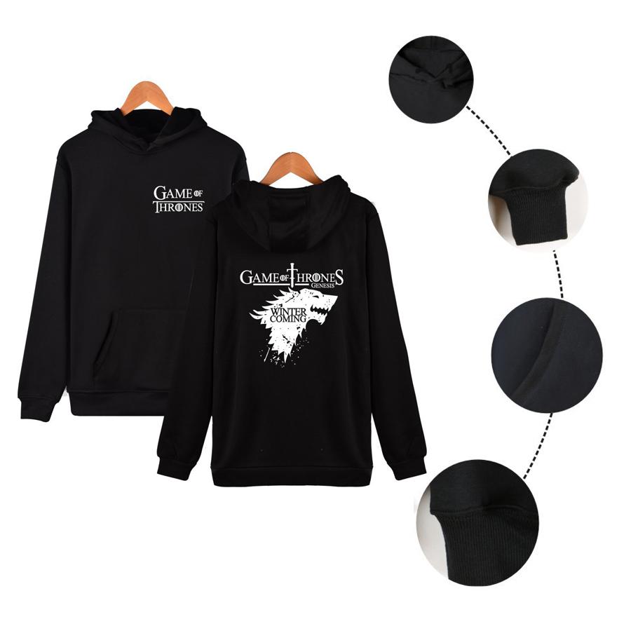 Stark Boys Hoodie Sweatshirt Hooded Pullover  Black Sweatshirt Game of Thrones
