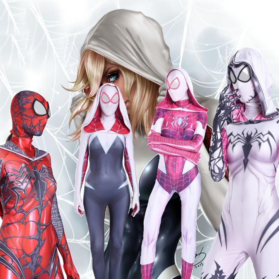 Details about Spider Gwen Stacy Venom Cosplay Girl Women Spiderman Jumpsuit  Halloween Costume