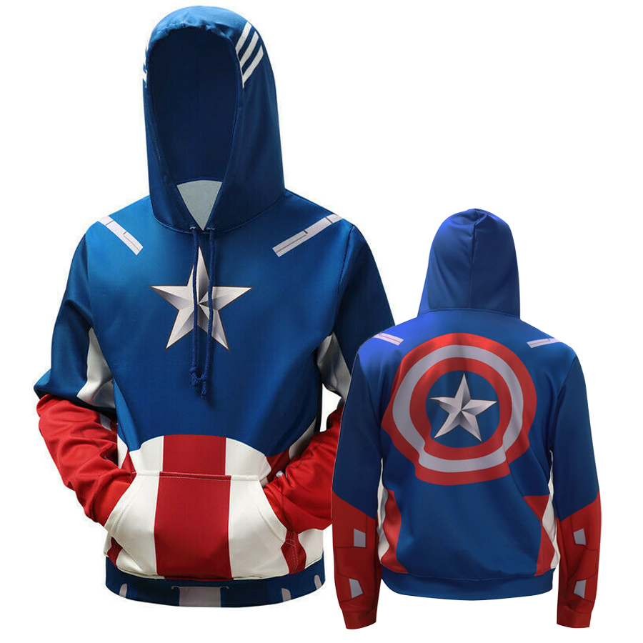 Cool Captain America Hoodie Sweater Jacket Cosplay Costume Hooded Coat Pullov ou