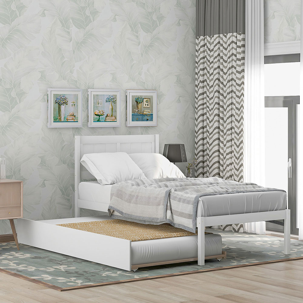 Twin Size Bed Frame With Trundle Matress Platform with Wood Slats and headboard
