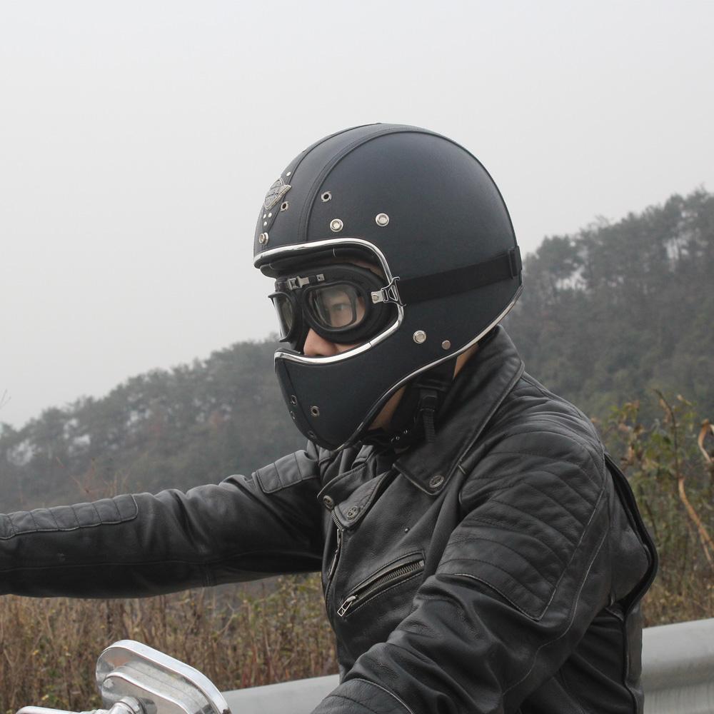 Deluxe Leather Open Face Motorcycle Helmet Cruiser Street Bike Scooter Chopper L