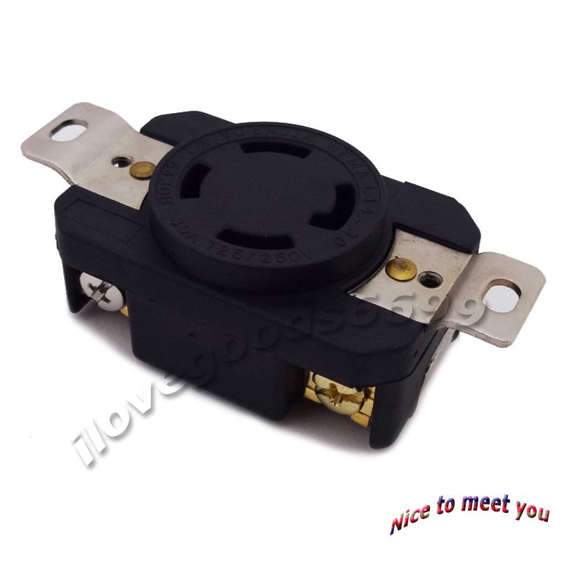 250v 4 Prong Receptacle Generator Twist Lock Socket 30amp